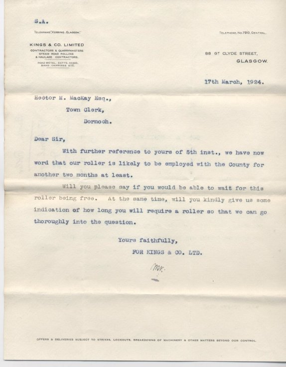 Letter re. hire of steam roller 1924