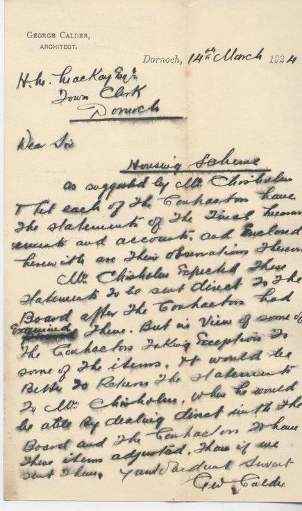 Letter re. housing scheme 1924