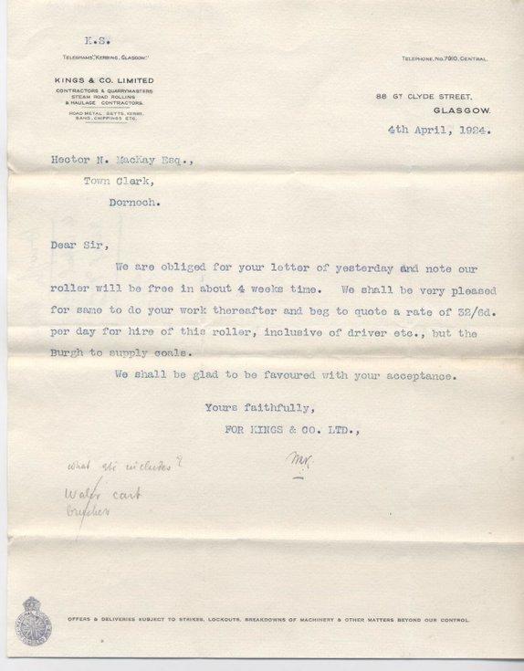 Letter re. road roller 1924