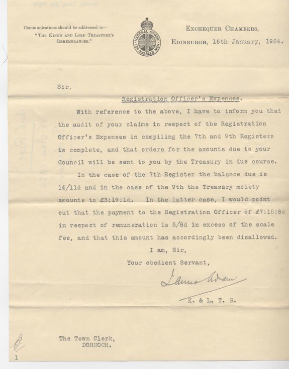 Letter re. Registration Officer's expenses 1924
