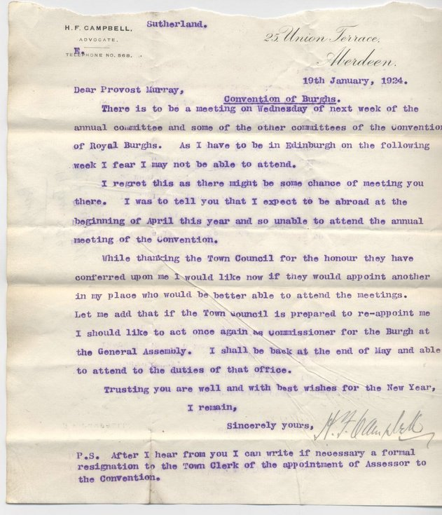 Letter re. attendance at Convention of Royal Burghs 1924