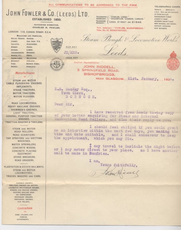 Letter re. purchase of road roller 1924