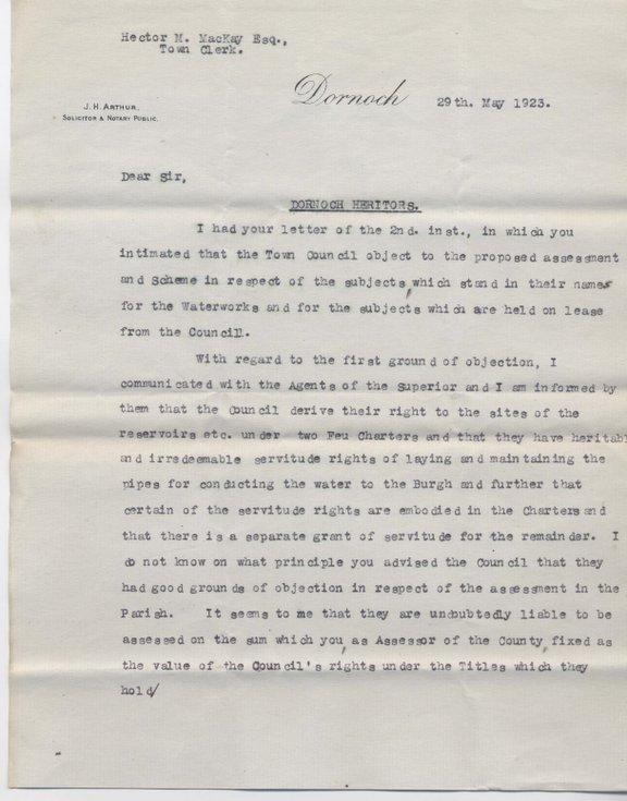 Letter re. heritors' assessment 1923