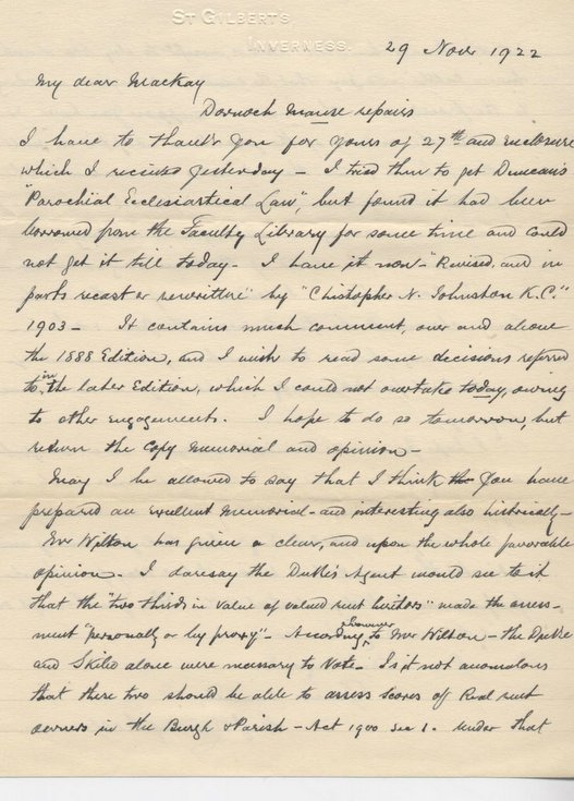 Letter from G. Campbell re. repairs to Manse 1922