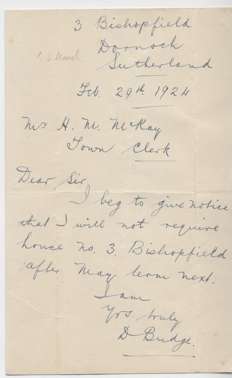 Letter re. house at Bishopfield 1924