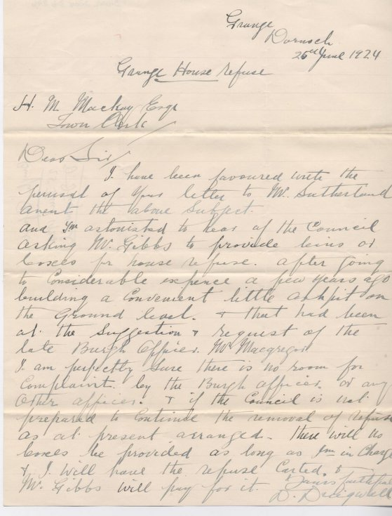 Letter re disagreement over rubbish removal 1924