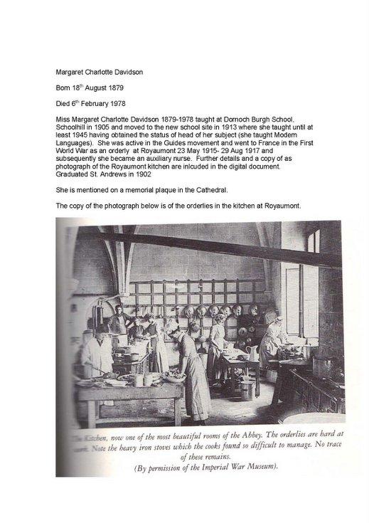 Miss Margaret Davidson - teacher in Dornoch